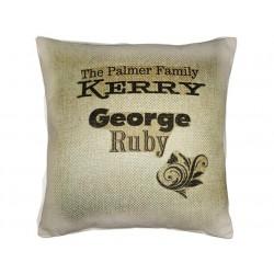 Personalised family name cushion